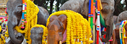 elephant statues decorated with flowers