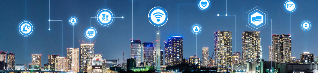 city skyline with network graphic overlay