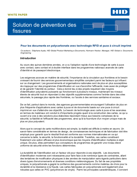 Solution de prévention des fissures