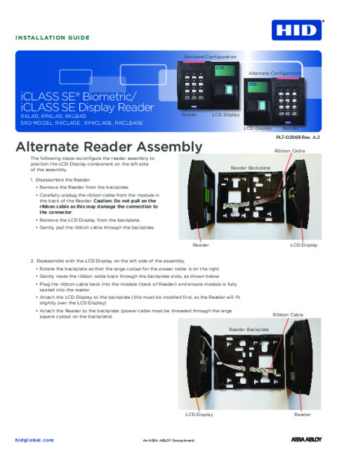 iCLASS SE Biometric/iCLASS SE Display Reader Alternate Reader Assembly Installation Guide