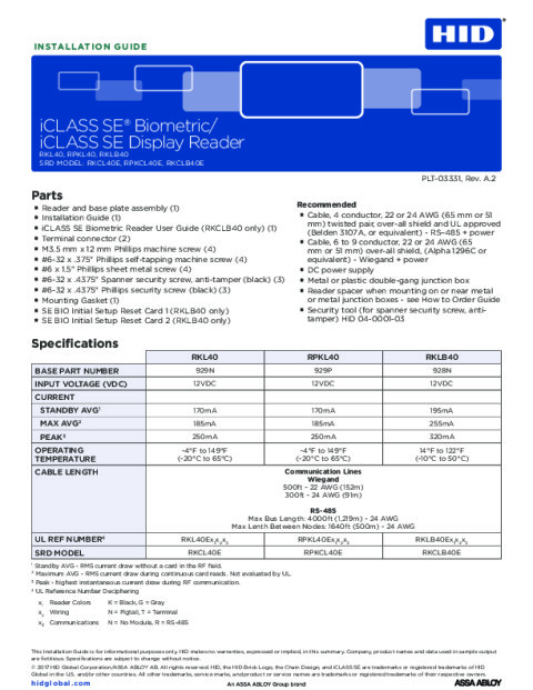 iCLASS SE/multiCLASS SE Bio and LCD Installation Guide (All Languages)