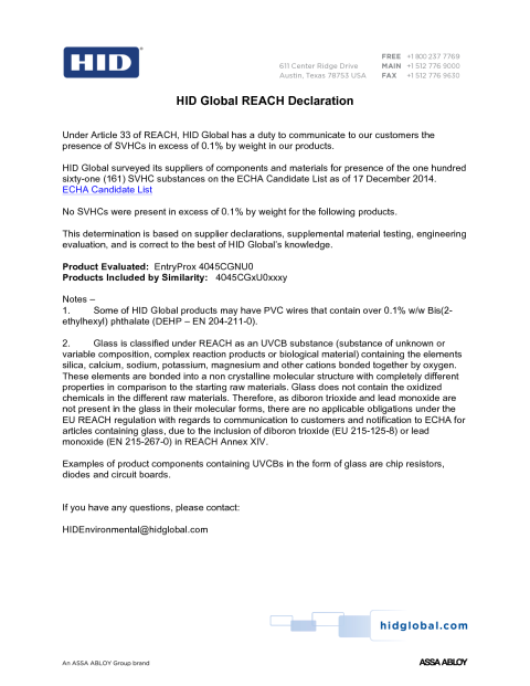 REACH Declaration EntryProx 4045C