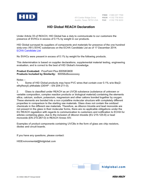 REACH Declaration ProxPoint Plus 6005B
