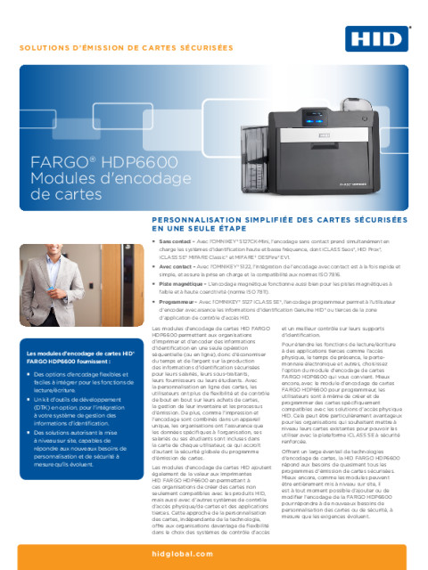 Fiche Technique HID® FARGO® HDP6600 Modules d'encodage de cartes